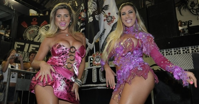 The Minerato sisters parade the Hawks. Ana Paula, who attended the panic is muse of Hawks and Tatiane, who participated in reality show Hypertension, Rede Globo, also parades the Paulista school